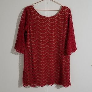 Aakaa Red Lace Tunic